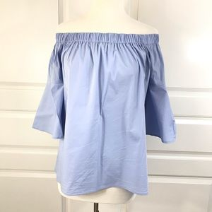 Two Lips off the shoulder pale blue top Size M